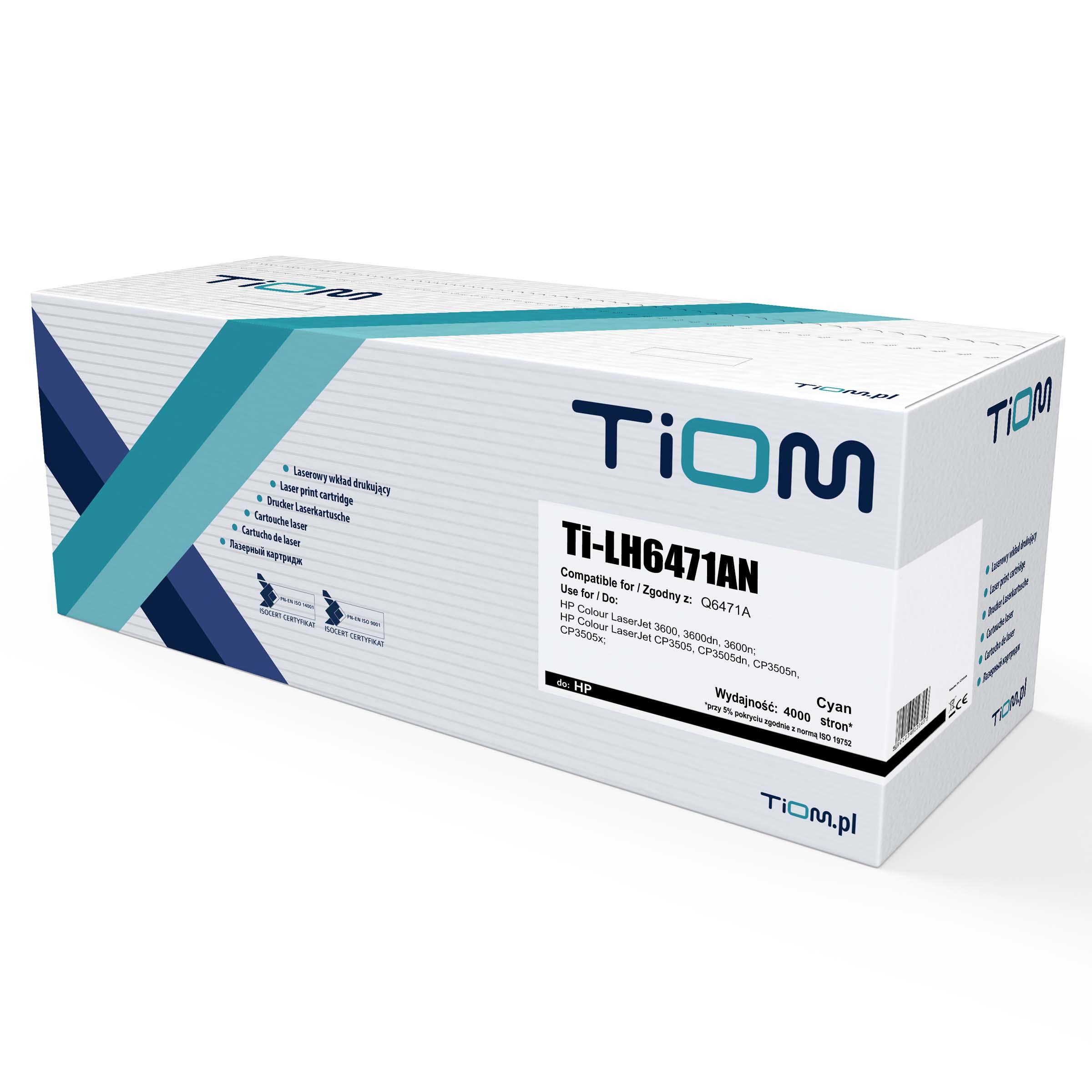 Ti-LH6471AN Toner Tiom do HP 502CN | Q6471A | 4000 str. | cyan